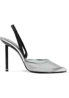 Alexander Wang Woman Metallic Leather And Satin-trimmed Mesh Slingback Pumps Silver