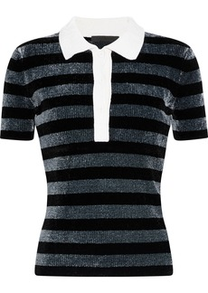 Alexander Wang Woman Metallic Striped Chenille Polo Shirt Black