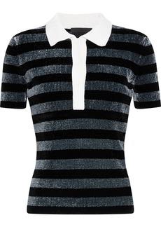 Alexander Wang Woman Metallic Striped Chenille Polo Shirt Black