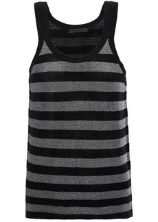 Alexander Wang Woman Metallic Striped Wool-blend Tank Black
