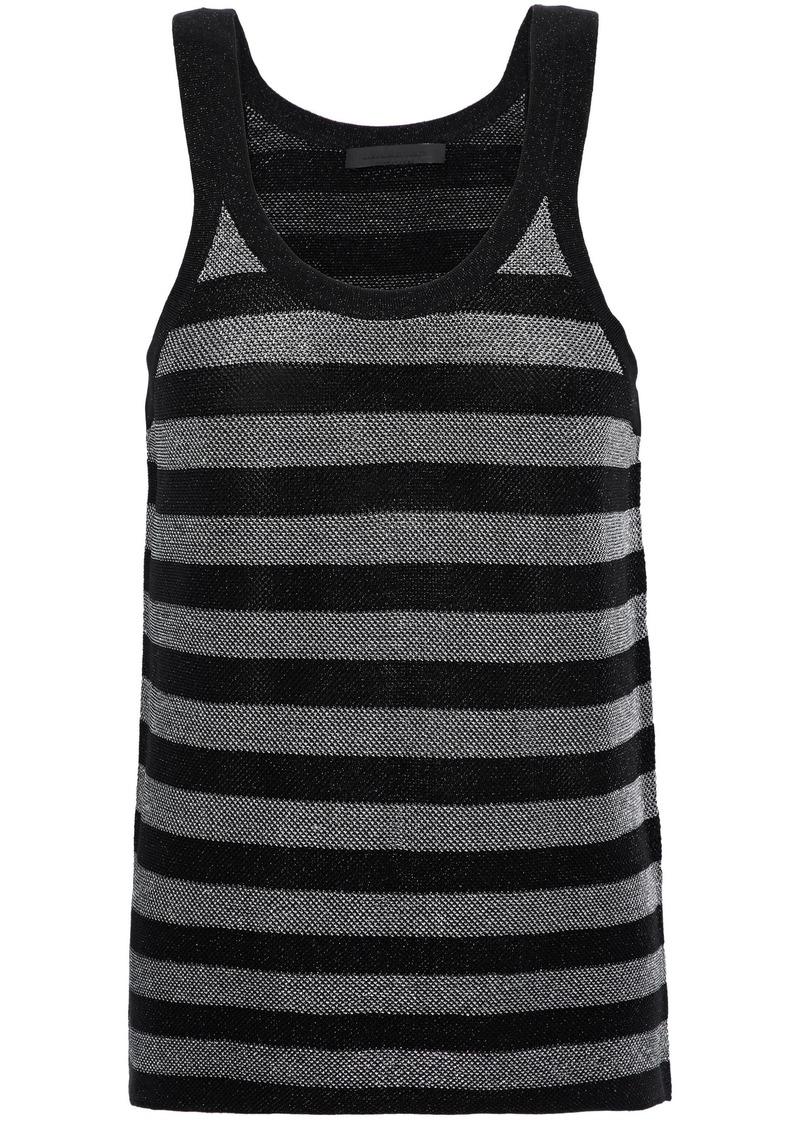 Alexander Wang Woman Metallic Striped Wool-blend Tank Black