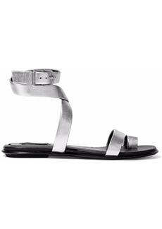 Alexander Wang Woman Naura Metallic Textured-leather Sandals Silver