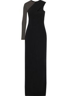 Alexander Wang Woman One-shoulder Cutout Tulle-paneled Cady Gown Black