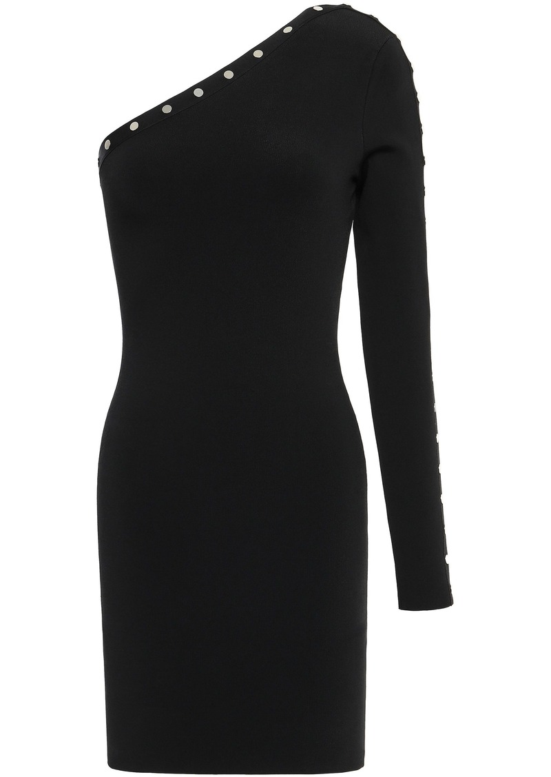 Alexander Wang Woman One-shoulder Studded Stretch-knit Mini Dress Black