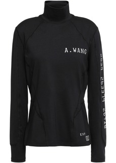 Alexander Wang Woman Printed Tech-jersey Turtleneck Top Black