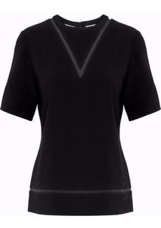 Alexander Wang Woman Pvc-trimmed Crepe Top Black
