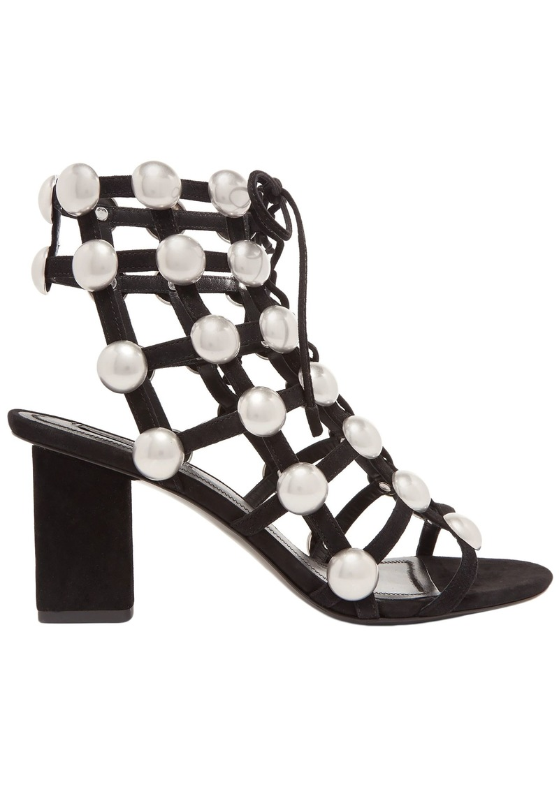 Alexander Wang Woman Rainey Studded Caged Suede Sandals Black