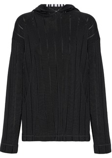 Alexander Wang Woman Ribbed Intarsia-knit Hoodie Black
