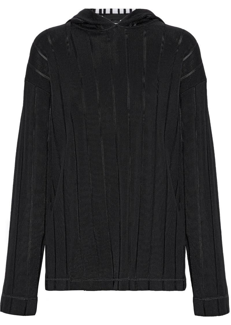Alexander Wang Woman Ribbed Intarsia-knit Hoodie Black