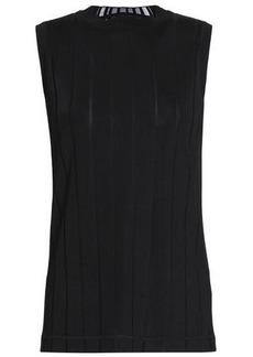 Alexander Wang Woman Ribbed Intarsia-knit Tank Black