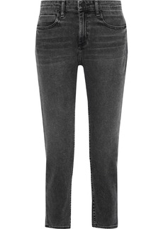 Alexander Wang Woman Ride Cropped Faded Mid-rise Slim-leg Jeans Charcoal