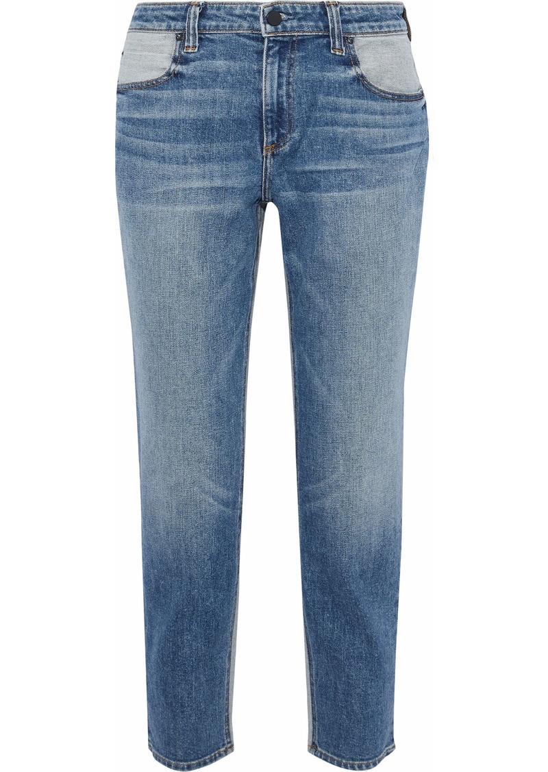 Alexander Wang Woman Ride Cropped Two-tone Mid-rise Straight-leg Jeans Mid Denim