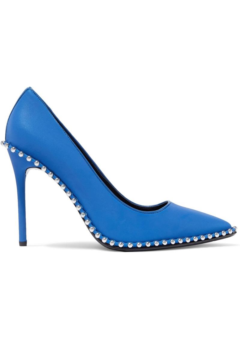 Alexander Wang Woman Rie Studded Iridescent Shell Pumps Blue