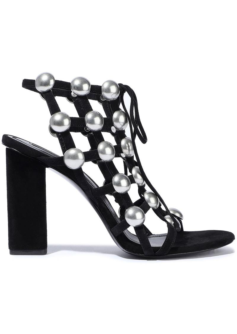 Alexander Wang Woman Rubie Studded Suede Sandals Black