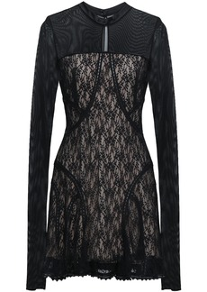 Alexander Wang Woman Ruffled Tulle And Lace-paneled Mini Dress Black