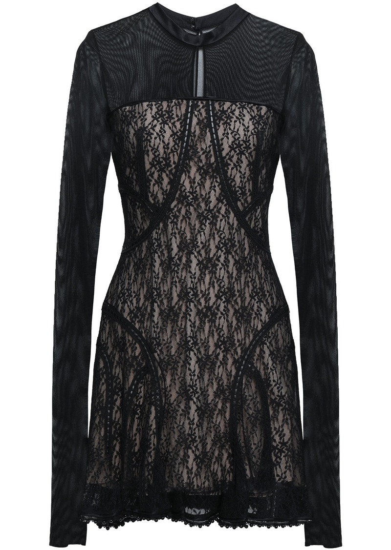 Alexander Wang Woman Ruffled Tulle And Lace-paneled Mini Dress Black