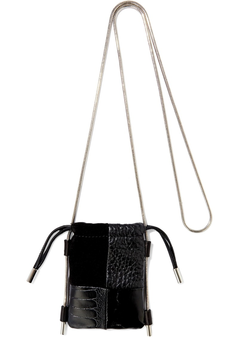 Alexander Wang Woman Ryan Micro Suede Croc-effect And Textured-leather Shoulder Bag Black