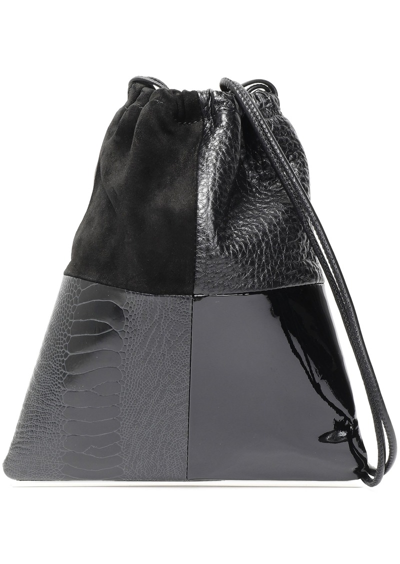 Alexander Wang Woman Ryan Mini Patchwork Leather And Suede Bucket Bag Black