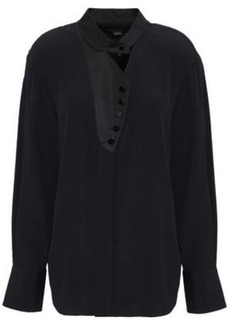 Alexander Wang Woman Sateen-trimmed Cutout Crepe Shirt Black