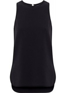 Alexander Wang Woman Satin-trimmed Cutout Crepe Top Black