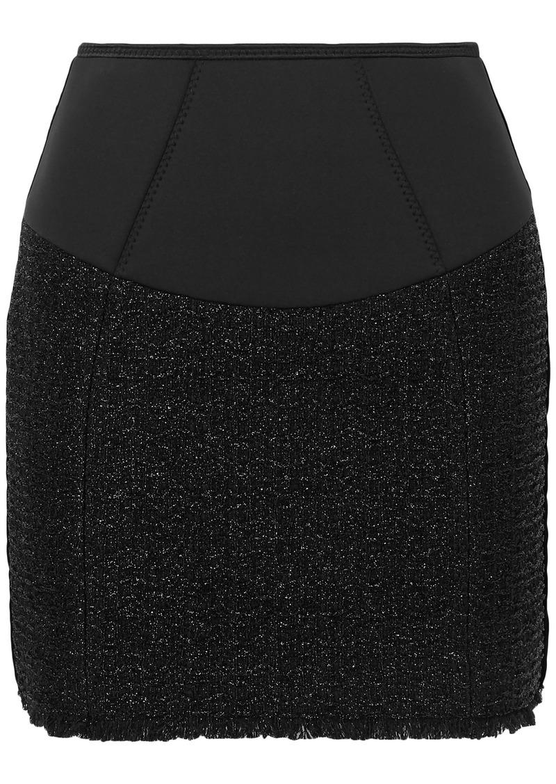 Alexander Wang Woman Scuba-paneled Velvet-trimmed Cotton-blend Tweed Mini Skirt Black