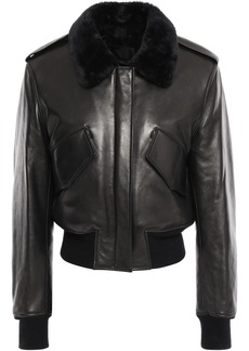 Alexander Wang Woman Shearling-trimmed Leather Bomber Jacket Black