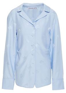 Alexander Wang Woman Silk-jacquard Shirt Light Blue