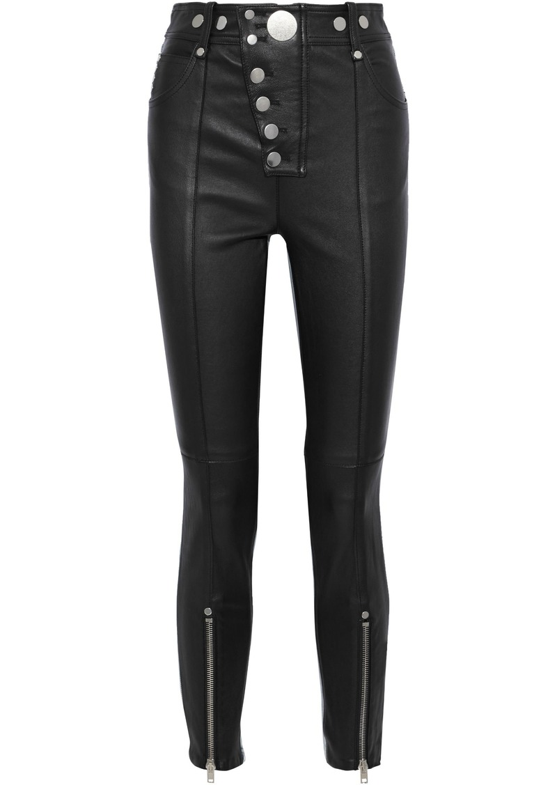 Alexander Wang Woman Snap-detailed Leather And Denim Skinny Pants Black