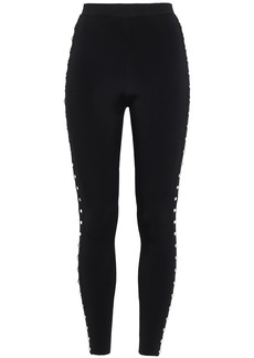 Alexander Wang Woman Snap-detailed Stretch-knit Leggings Black