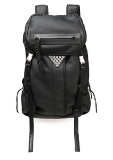 Alexander Wang Woman Snap-embellished Textured-leather Backpack Black