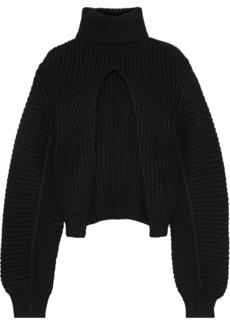 Alexander Wang Woman Split-front Ribbed Wool Turtleneck Sweater Black