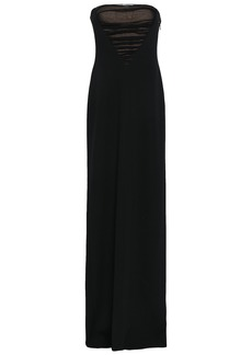 Alexander Wang Woman Strapless Ruched Tulle-paneled Crepe Gown Black