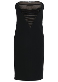 Alexander Wang Woman Strapless Ruched Tulle-paneled Stretch-crepe Mini Dress Black