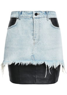 Alexander Wang Woman Stretch Leather-paneled Denim Mini Skirt Light Denim