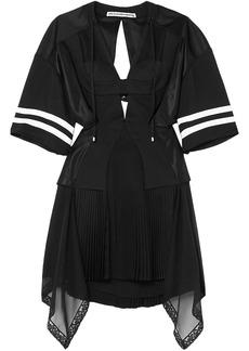 Alexander Wang Woman Striped Cutout Pleated Chiffon And Mesh Mini Dress Black