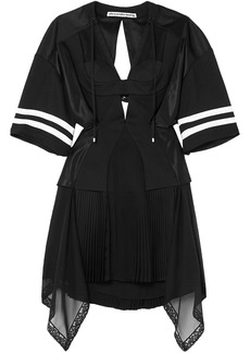 Alexander Wang Woman Striped Cutout Pleated Chiffon And Mesh Mini Dress Black