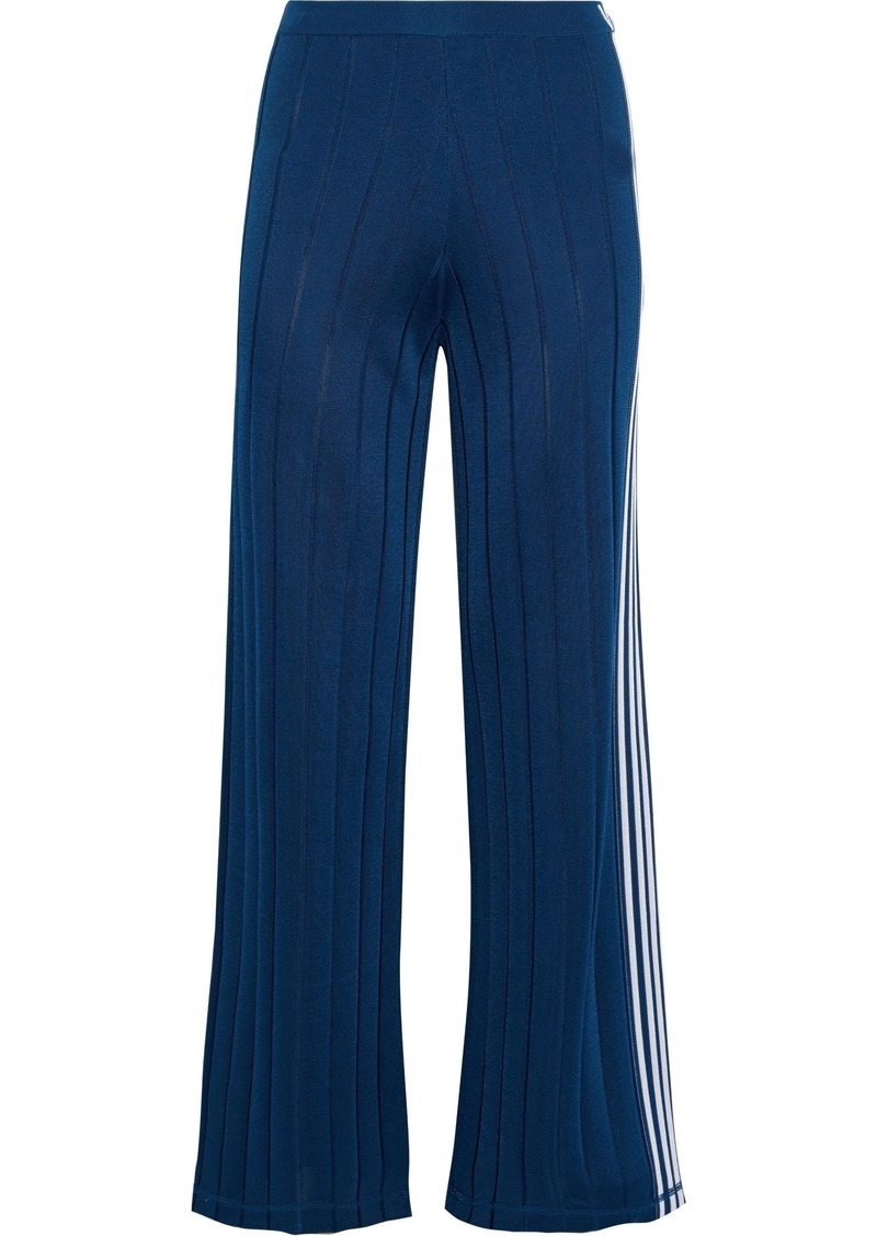 Alexander Wang Woman Striped Ribbed-knit Track Pants Blue