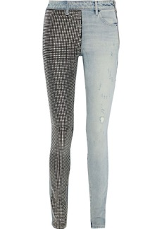 Alexander Wang Woman Studded Mid-rise Skinny Jeans Light Denim