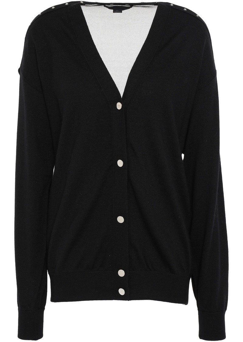 Alexander Wang Woman Paneled Merino Wool Cardigan Black