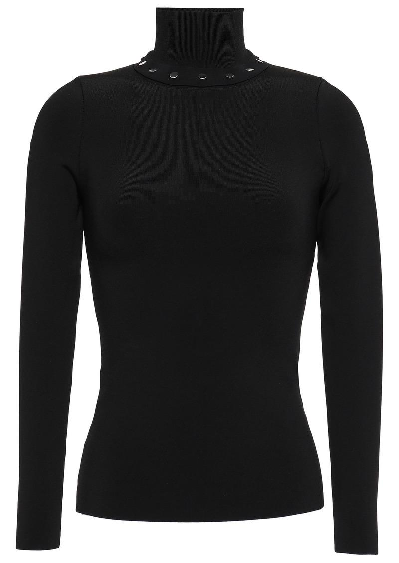 Alexander Wang Woman Studded Stretch-knit Turtleneck Top Black