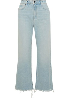 Alexander Wang Woman Tame Cropped Frayed High-rise Straight-leg Jeans Light Denim