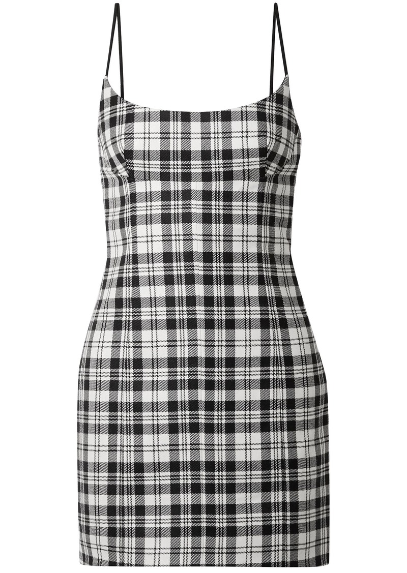 Alexander Wang Woman Tartan Wool Mini Dress Black