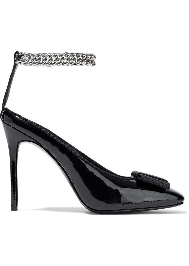 Alexander Wang Woman Tiri Bow-embellished Patent-leather Pumps Black