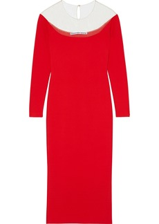 Alexander Wang Woman Tulle-paneled Stretch-knit Dress Red