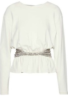 Alexander Wang Woman Twist-front Studded Knitted Top Ivory