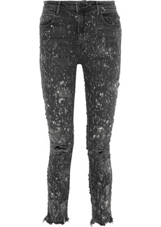 Alexander Wang Woman Whiplash Bleached Distressed Mid-rise Skinny Jeans Dark Gray