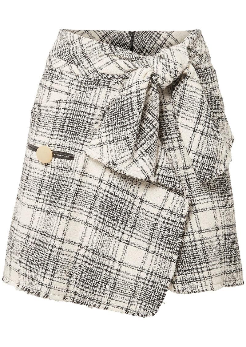 Alexander Wang Woman Wrap-effect Checked Cotton-blend Bouclé-tweed Mini Skirt Black