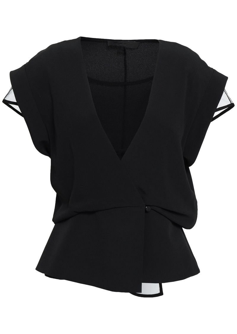 Alexander Wang Woman Wrap-effect Layered Tulle And Crepe De Chine Top Black