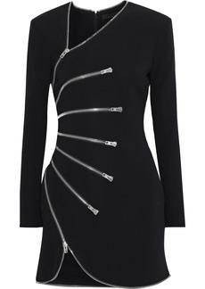 Alexander Wang Woman Zip-detailed Cady Mini Dress Black