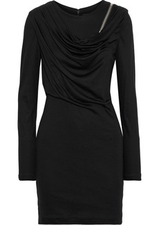 Alexander Wang Woman Zip-detailed Draped Wool Mini Dress Black